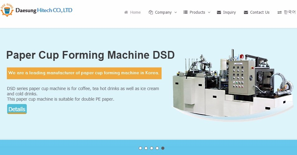 Paper Cup Forming Machines Korea Manufacturer